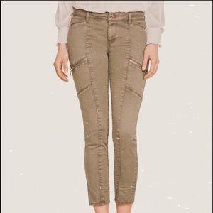 WHBM olive skinny crop olive moto zipper jeans